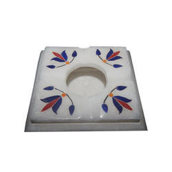 Square Marble Floral Inlay Work Ashtray