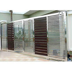 Silver And Brown Stainless Steel Sliding Door