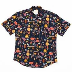 Multicolor Slim Fit Half Sleeves Printed Shirt, Size: S-xxl