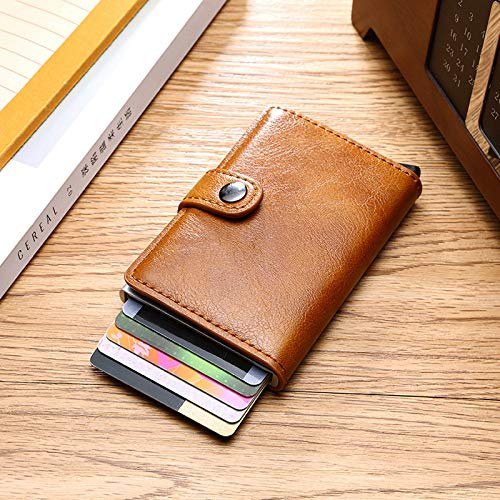 the best attitude d9397 f49f3 Leather Anti Theft Rfid Aluminium Credit Card Case Money Wallet