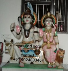 marble Sculpture of Shiv and Parvati