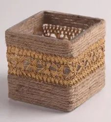 Wooden Square Brown Jute Pen Stand, For Home