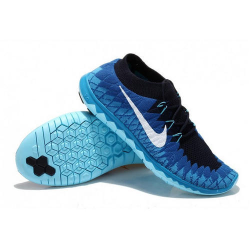 huge discount 00465 4bf70 Black and Blue Nike Free 3 Flyknit Royal Blue   White Mens Shoes, Size