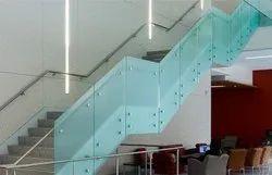 Stainless Steel 304 Jindal Mat Brush Frameless Glass Handrails