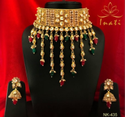 Gold Finished Kundan Jewelry Pearl Necklace, Jhumki, Sahare Earrings And Stud Tikka By Jewel India