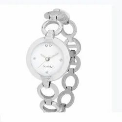 Round Analog Ladies Silver Casual Watch