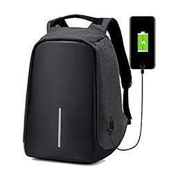 Black Anti Theft Backpack With USB