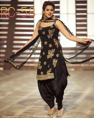 8f6128589 Semi-Stitched Black Patiyala Dress Rc - 58, Rs 630 /piece | ID ...