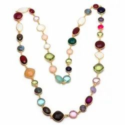 Designer Gemstone Long Chain Necklaces