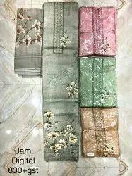 Jam Digital Cotton Suits With Chiffon Dupatta Fancy Dress Materials