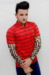 Mens Cotton Polo Neck T Shirt