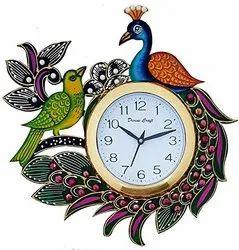 mk handicraft Ulticolor Wooden Wall Clock, Size: 14*14, Model Name/Number: mkh0216