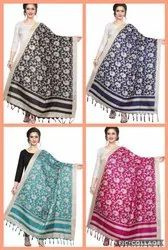 PRINTED COTTON BLEND DUPATTAS WITH JHALAR