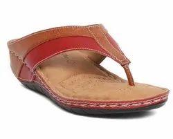 Paragon Womens Solea Plus Red-Tan Casual Sandal