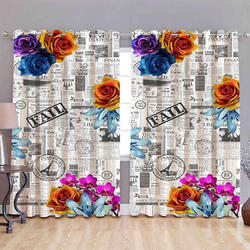Fancy Flowery Digital Curtain