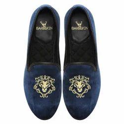 Men Blue Velvet Slip On Shoes