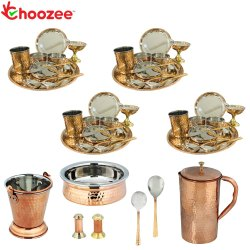 Choozee - Set of 4, Stainless Steel Copper Thali Dinner Set with Serveware
