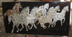 Marble Inlay Wall Panel With Horses Design