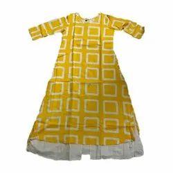 Half Sleeve Cotton And Rayon Ladies Yellow Casual Kurti
