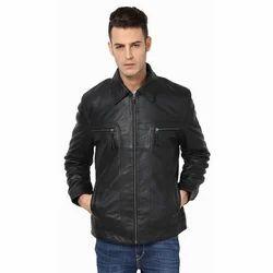 Black Mens Genuine Leather Biker Jacket