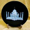 Black Marble Taj Mahal Plate, Shape: Round, Standard