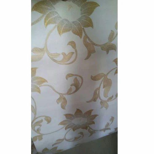Golden Flower Print Designer Wallpaper