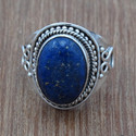 Lapis Lazuli Gemstone 925 Sterling Silver Indian Ring