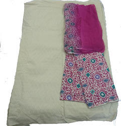 Printed Multicolour Cotton Dress Material For Women (with Chikan Salawar)
