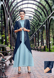 PR Fashion, New Designer Blue Colored Designer Readymade Kurti