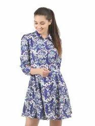 Women Printed  Pouf Dress