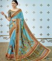 Shree Exports Formal Wear Blue Pure Banarasi Silk Printed Saree, With Blouse Piece