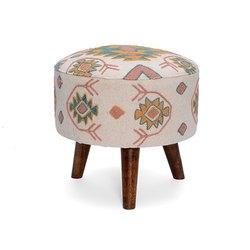 Wooden Furniture Round Stool Embroidery Foot Stool Ottomans