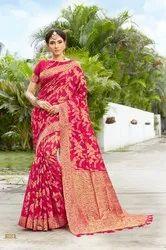 Pink Festive Wear Banarasi Silk Woven Saree, 6.3mtr