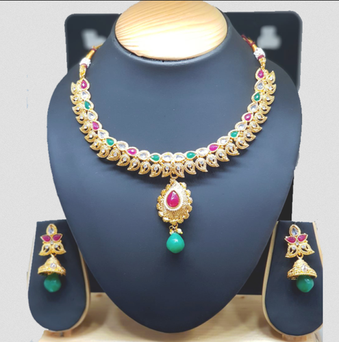 Necklaces Antique Collection With White Act Stones With Jhumka