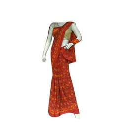 Casual Wear Red Printed Chiffon Saree, 6 m (with blouse piece)