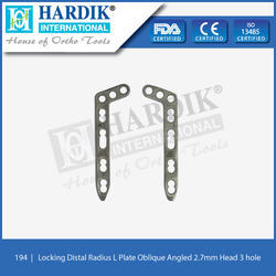 Locking Distal Radius L Plate Oblique Angled 2.7mm (Head 3H)