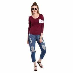 Ladies Round Neck Maroon T Shirt