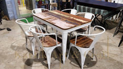 White Wood Restaurant Designer Dining Table Set, Seating Capacity: 6, Size: 48 X 30 X 30 Inches