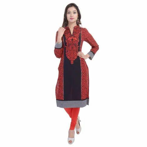 Woman Printed Cotton Casual Wear Indian Kurtis