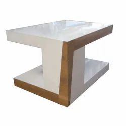 Cream and Brown Wood Fancy Wooden Center Table, For Home