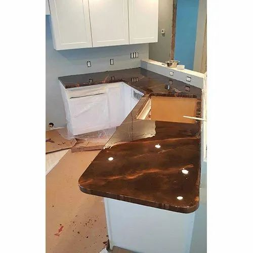 Wooden Mdf Base Brown Epoxy Kitchen Countertop Thickness 18 Mm