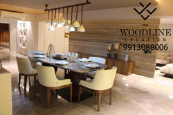 Woodline Creation Rectangular Galatea Wooden Dining Table Set, for Home / Hotel