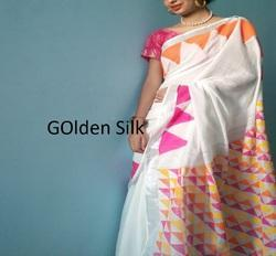 Cotton Hand Painted Saree, Length: 6.3 m