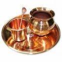 Golden Plain Kk-1105 Copper Pooja Kit, Thickness: 2 Mm