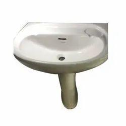 White Wall Mounted Bathroom Ceramic Wash Basin, Packing Type: Carton Box