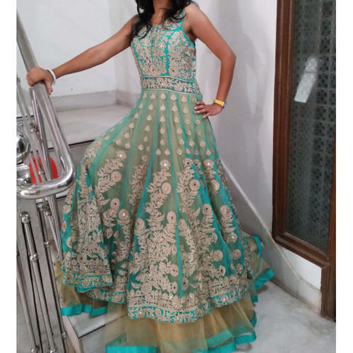 Sea Green Net Sexy Prom Dresses Gown On Rent,