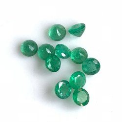 Natural Zambian Emerald Faceted Round Loose Gemstone