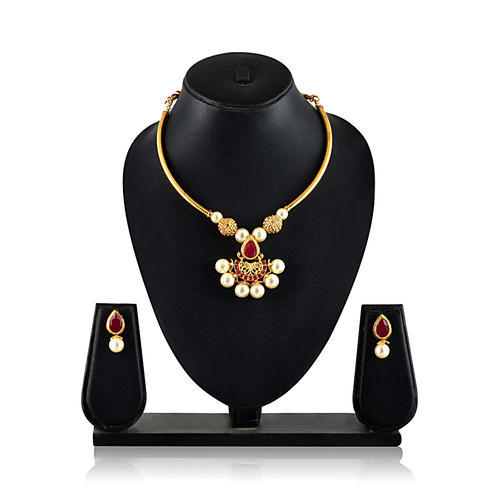 Golden Necklace Set Imitation Jewellery Set