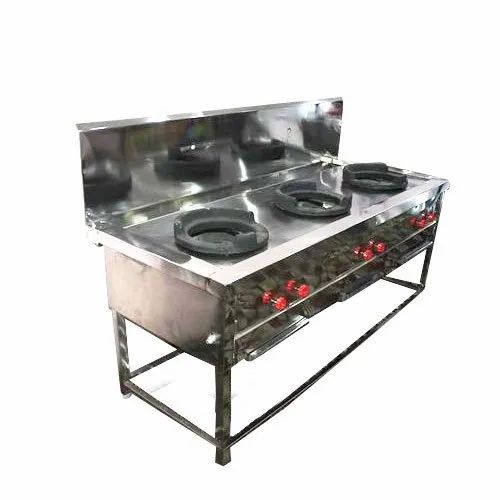 Used Three Burner Commercial Cooking Range