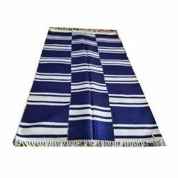 Blue And White Mosque Woolen Floor Durries